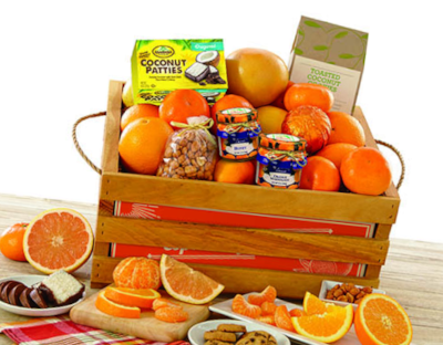Fresh fruit and Florida favorites snacks in mini-fruit-crate.