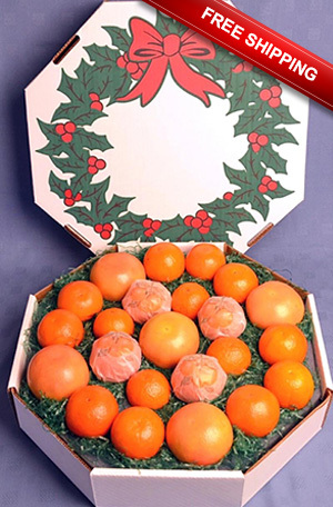A wreath style box filled with Oranges, Tangerines and Grapefruit shipped free to the US, reduced shipping to Canada.