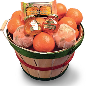 Grove Basket filled with Honeybells, plus we add two marmalades and chcolate-dipped Orange Coconut Patties