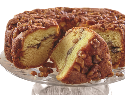 Traditional cinnamon walnut coffee cake.