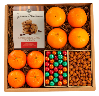 Navel Oranges and Sweet Tangerines, 4 each, paired with a curated selection of cookies, candies and nuts.