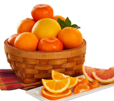 Navels, Tangerines and a Ruby Red Grapefruit in woven basket.