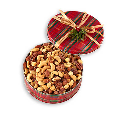 Deluxe Roasted and Salted Mixed Nuts in Decorated Tin. No peanuts.