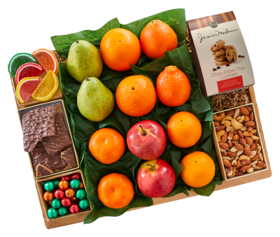 Fruit Variety Gift Box includes three citrus varieties and d'anjou pears flanked by a selection of delicious sweet Florida treats.