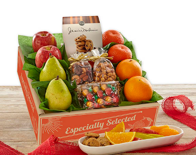 Fruit and snacks gift box with apples, pears, oranges and tangerines plus cookies, chocolates, nuts and crunchy snack mix.