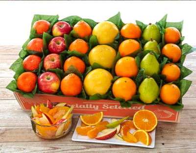 A colorful selection of seven premium fruits including apples, pears, oranges, grapefruit and tangerines.