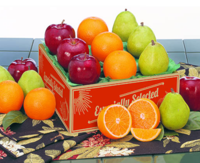 Orchard Sampler includes Navel Oranges, Tangerines, Orchard Apples and D'Anjou Pears