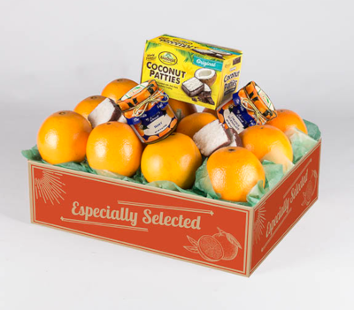 Sunshine Deluxe Assortment with Navel Oranges, also available with Grapefruit.
