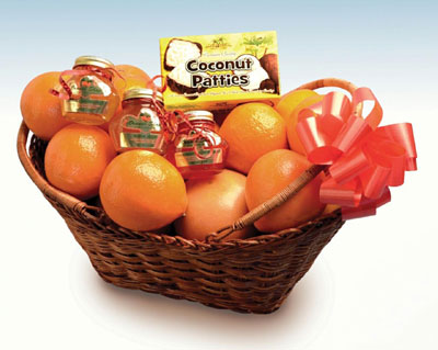 Tropical hugs fern basket of oranges, tangerines, grapefruit, coconut patties, marmalades and jelly.